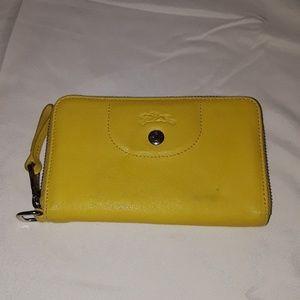 Longchamp leather zip around wallet wristlet